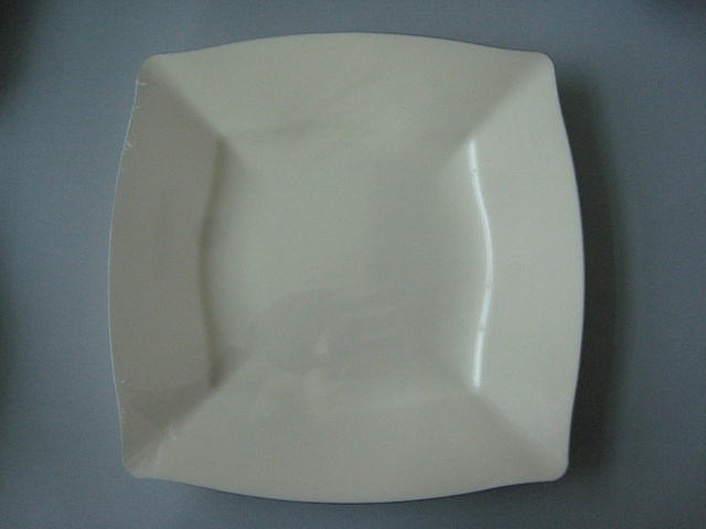 Cram square plate with silver rim
